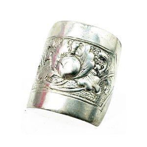Vintage sterling silver Rectangular Fruit ring 6